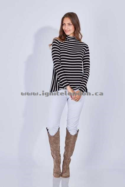Womens Living Doll Funnel Neck Top Black - Stretch, Monochrome, Stripes, Prints For Sale