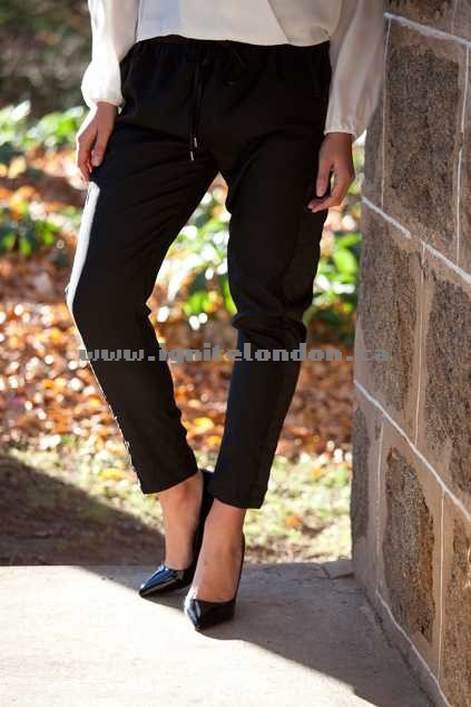 Womens Living Doll Quilted Relax Pant Black - Plain Colour, Quilted Canada Online Shop