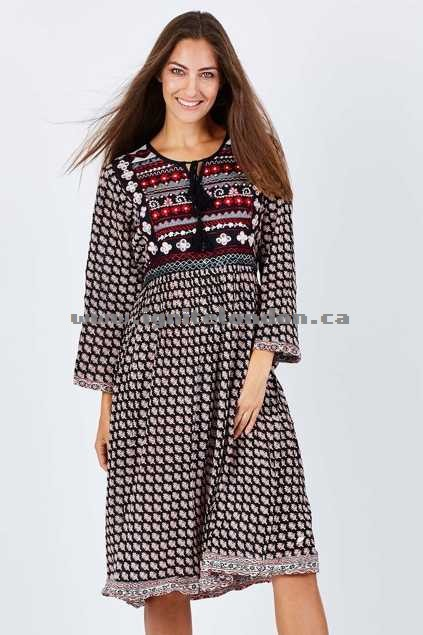 Womens Nest Picks 70s Bagru Midi Dress BeyboBlack - Prints, Embellished, Embroidered Outlet Stores