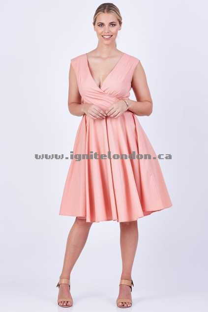 Womens Nest Picks Lia Dress Pink - Plain Colour, Pastel Discount Code