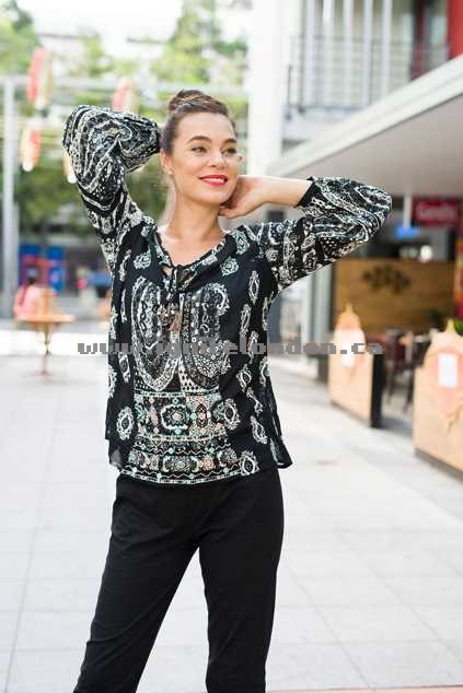 Womens Orientique Rubens Print Top Black - Prints, Embellished Outlet Online Canada