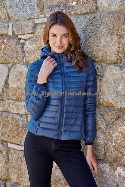 Womens Pretty In Pink Down Short Jacket Navy - Plain Colour, Quilted, Padded Cheap Price