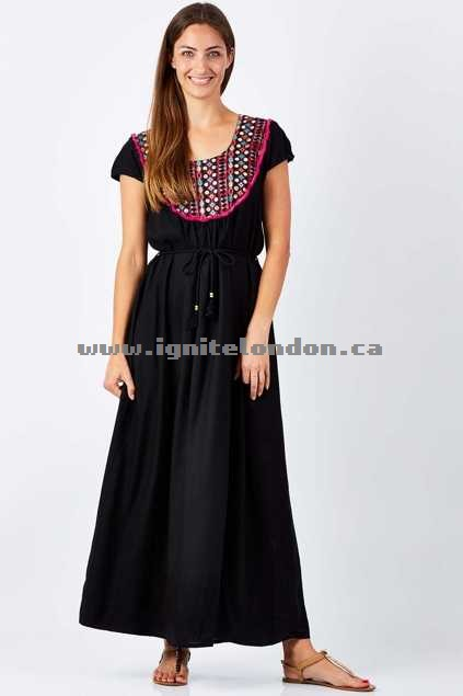 Womens Rasaleela Rhapsody Maxi Black - Prints, Embellished, Embroidered, Fringing Shop Canada