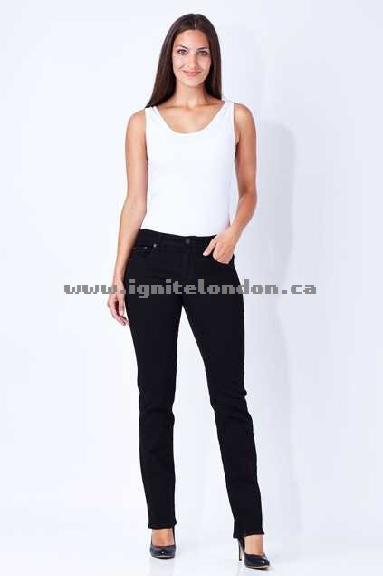 Womens Riders By Lee Mid Straight Jean Black - Plain Colour, Stretch Shops Canada