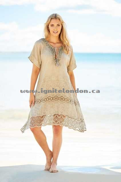 Womens Ruby Yaya Hola Dress Moonbeam - Embroidered, Embellished, Crinkle Shops Canada