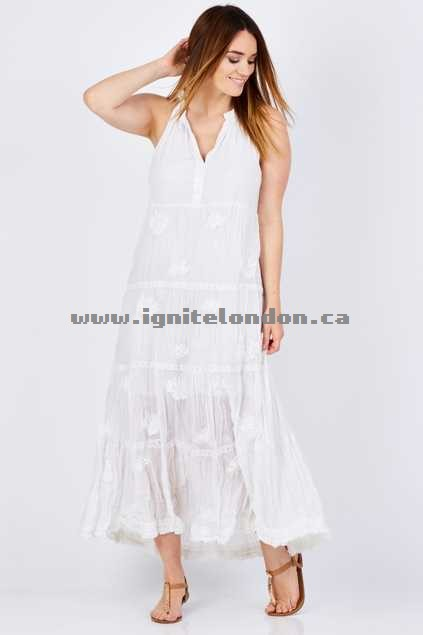 Womens Ruby Yaya Mallorca Maxi White - Embroidered, Embellished, Plain Colour, Crinkle, Lace Cheap