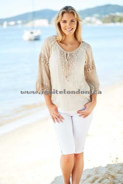 Womens Ruby Yaya Mariposa Top Moonbeam - Crinkle, Distressed, Lace The Cheapest