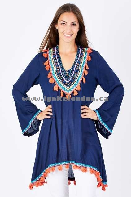 Womens Ruby Yaya Nuevo Tunic Navy - Embroidered, Embellished, Crinkle Online Cheap