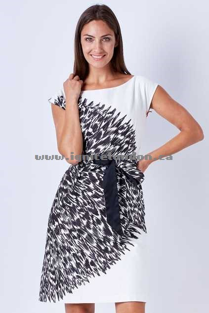 Womens Sacha Drake Cheerleader Dress BlackWhite - Prints, Monochrome Get Cheap