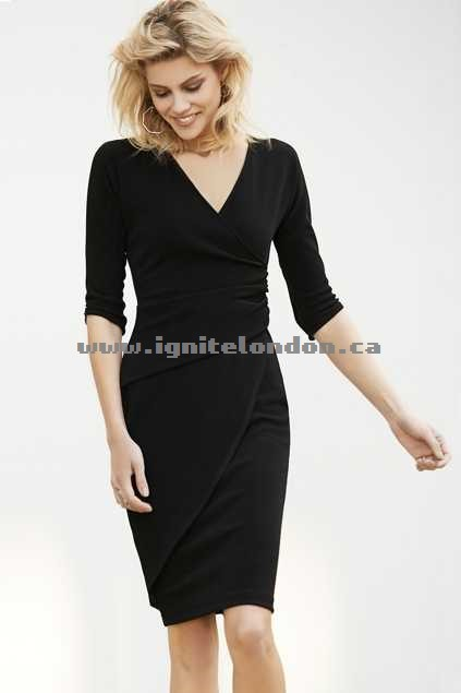 Womens Sacha Drake Faux Wrap Dress Black - Plain Colour, Textured, Stretch Clearance