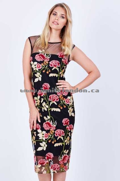 Womens Sacha Drake Ferrera Dress RoseEmb - Embroidered, Floral Sale Online
