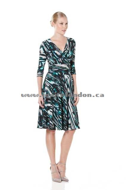 Womens Sacha Drake Mausie Dress TealGrey - Stretch, Prints On Sale