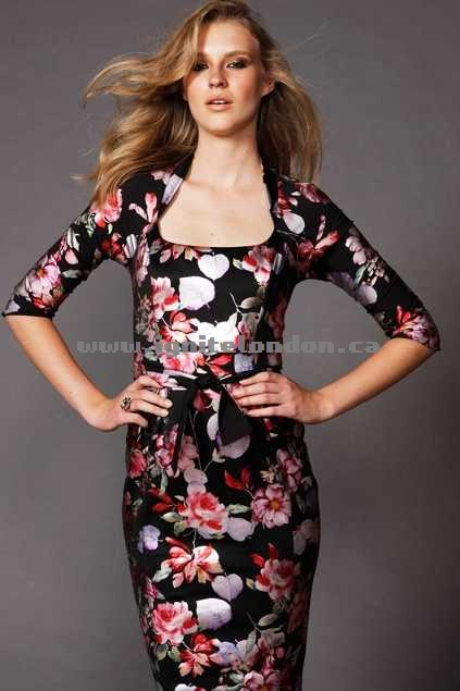 Womens Sacha Drake Mozart Dress BlkFlower - Stretch, Prints Online