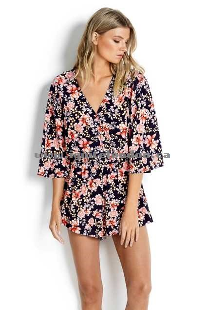Womens Seafolly Nouveau Floral Playsuit Black - Prints New Arrival