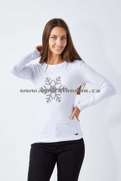 Womens SnowAngel Pure As A Snowflake Long Sleeve Tee White - Embroidered, Embellished, Stretch, Monochrome, Plain Colour Buy