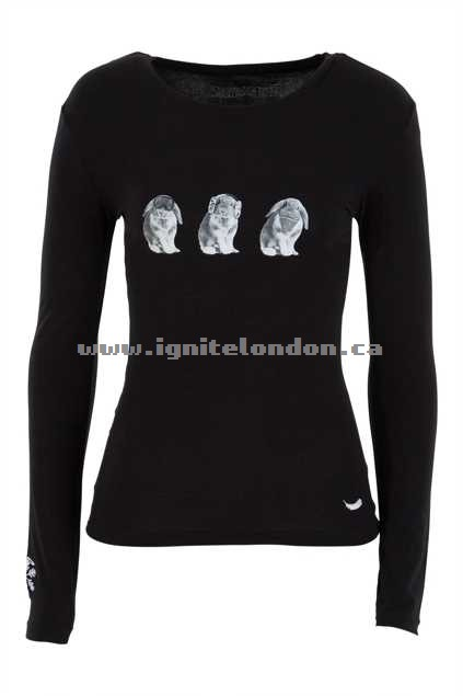 Womens SnowAngel See No Evil Long Sleeve Cotton Tee Black - Prints, Monochrome, Stretch Online Sale