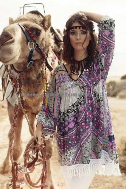 Womens Talisman Tangier Tunic Top Medina - Prints, Fringing For Sale