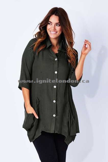 Womens Threadz Drop Side Shirt Khaki - Plain Colour, Sheer Wonderful