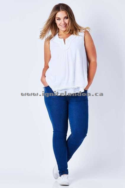 Womens Threadz Full Length Pull On Jean Denim - Plain Colour Buy