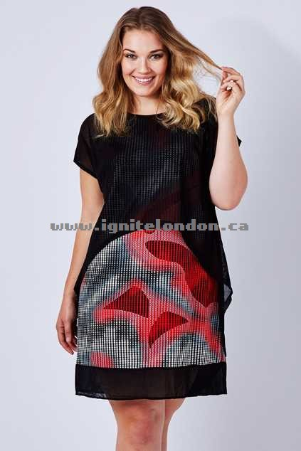 Womens Threadz Mesh Overlay Dress BlackRed - Stretch, Sheer, Prints Best