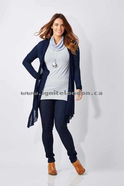 Womens Vigorella Mesh Long Draped Cardi Navy - Textured, Plain Colour, Stretch Outlet Online