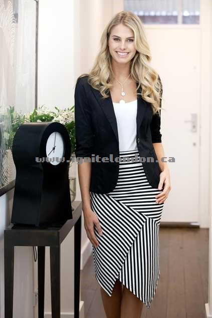 Womens bird keepers The Contrast Striped Skirt BlackWhite - Stripes, Stretch Canada