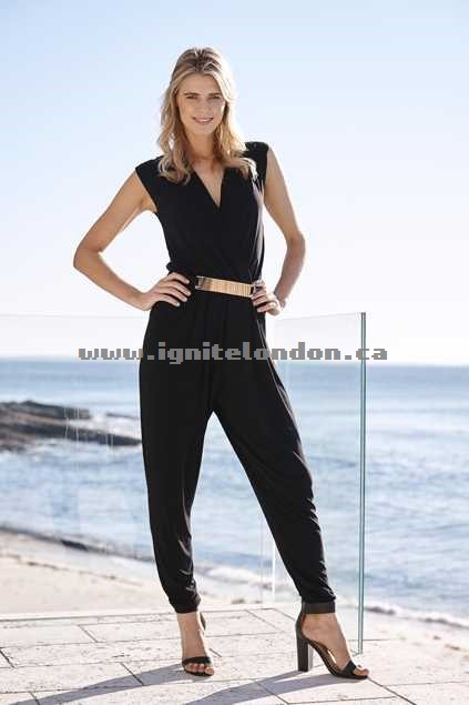 Womens bird keepers The Crossfront Jumpsuit W Belt Black - Stretch, Plain Colour Canada Online Shop