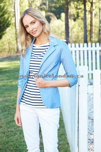 Womens bird keepers The Everyday Blazer DenimBlue - Chambray, Stretch, Plain Colour Buying New