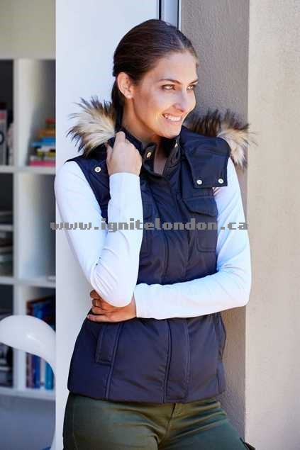 Womens bird keepers The Faux Fur Puffer Vest Black - Faux Fur, Plain Colour Store