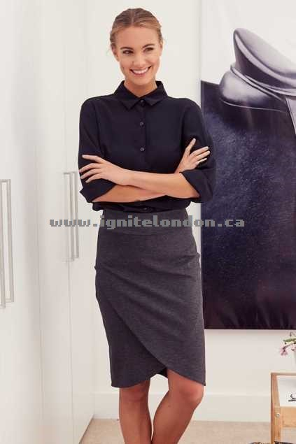 Womens bird keepers The Knee Length Wrap Skirt Grey - Stretch, Plain Colour On Sale