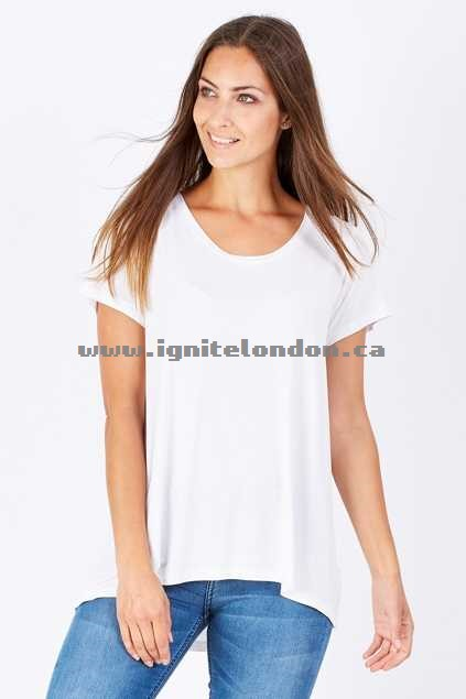 Womens bird keepers The Pintuck Back Tee BrightWhit - Stretch, Plain Colour Clearance