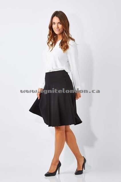 Womens bird keepers The Ponte Flip Skirt Black - Stretch, Plain Colour Clearance
