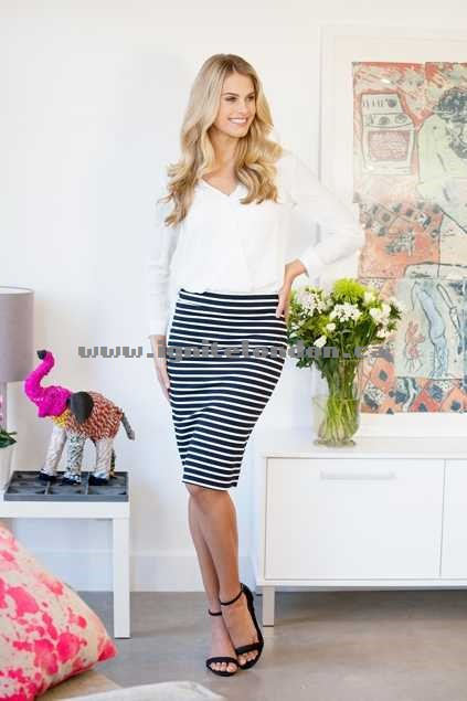 Womens bird keepers The Stripe Ponte Tube Skirt NavyWhite - Stripes, Stretch Outlet Canada