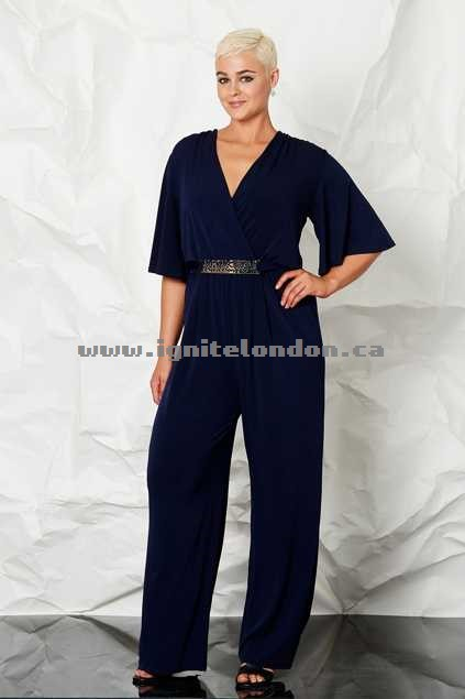 Womens bird keepers by design By Design - The Bell Sleeve Jumpsuit Navy - Plain Colour Best
