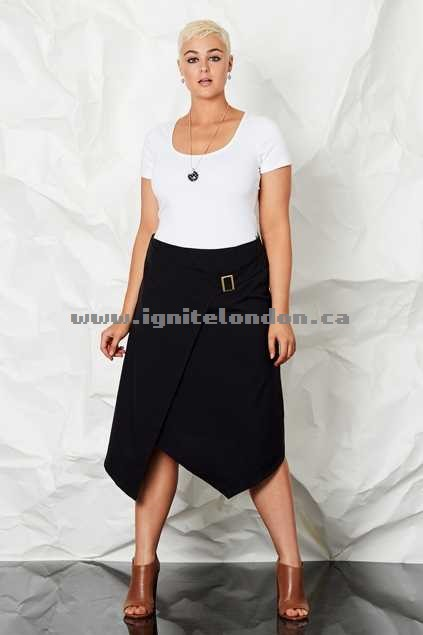 Womens bird keepers by design Cross Over Skirt Black - Plain Colour Outlet Online