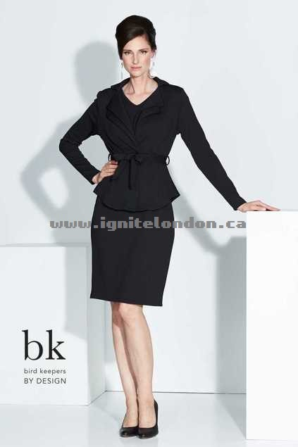 Womens bird keepers by design The Petal Fold Jacket Black - Plain Colour, Textured, Stretch Canada Sale