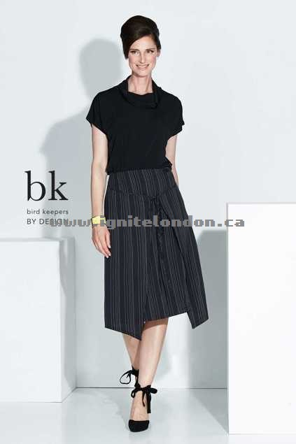 Womens bird keepers by design The Pinstripe Wrap Skirt Black - Prints, Stripes Sale Canada