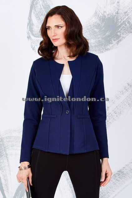 Womens bird keepers by design The Ponte Jacket Navy - Plain Colour, Stretch Outlet Store