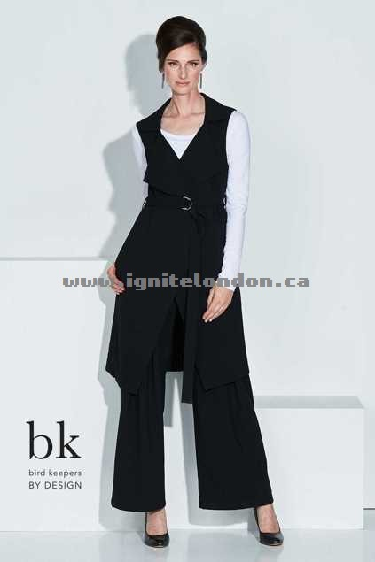 Womens bird keepers by design The Sleeveless Jacket With Belt Black - Textured, Plain Colour Shops Canada