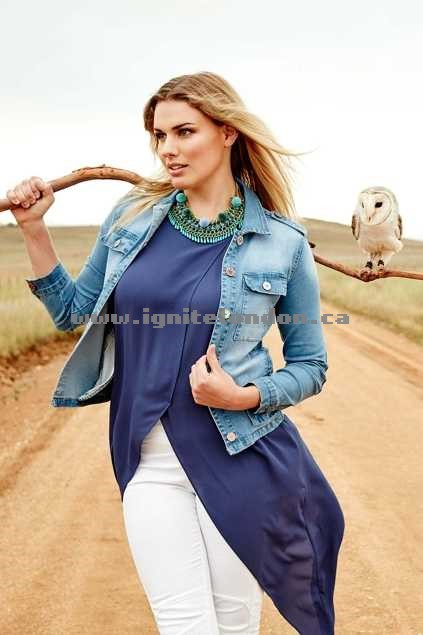 Womens boho bird Depend On Me Denim Jacket Denim - Distressed New Arrivals