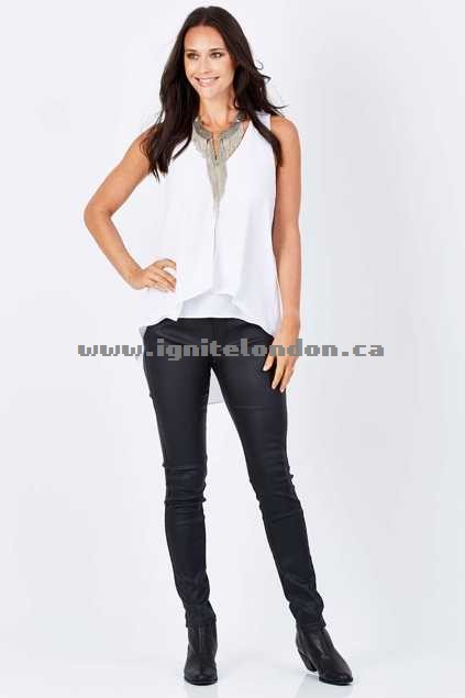 Womens boho bird Wild At Heart Coated Jegging Black - Plain Colour, Stretch Outlet Online Canada