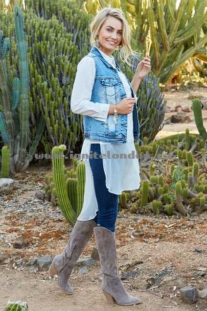 Womens boho bird With My Lasso Denim Vest Denim - Stretch, Lace, Embellished Buying New