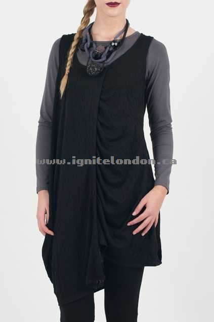 Womens jham S/less Jersey Vest Black - Plain Colour, Textured, Stretch Shop Official