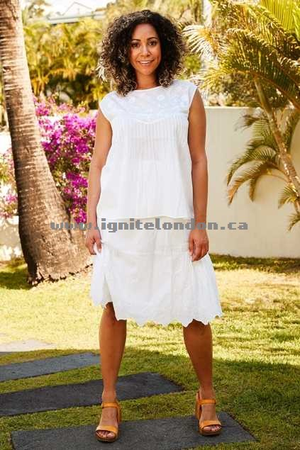 Womens lazybones Pearl Skirt White - Sheer, Embroidered, Lace, Cut out Canada Online Shop
