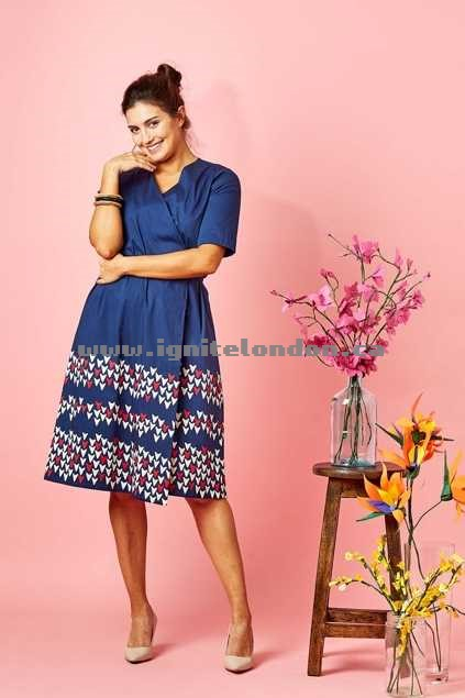 Womens that bird label Ella Wrap Dress Falling Petals Blue - Prints, Plain Colour, Stretch Wonderful