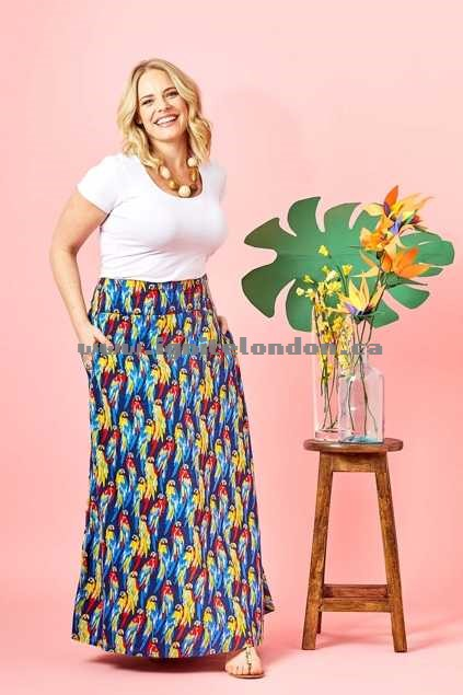 Womens that bird label Rosie Maxi Skirt Rainbow Rainforest Blue - Prints Clearance
